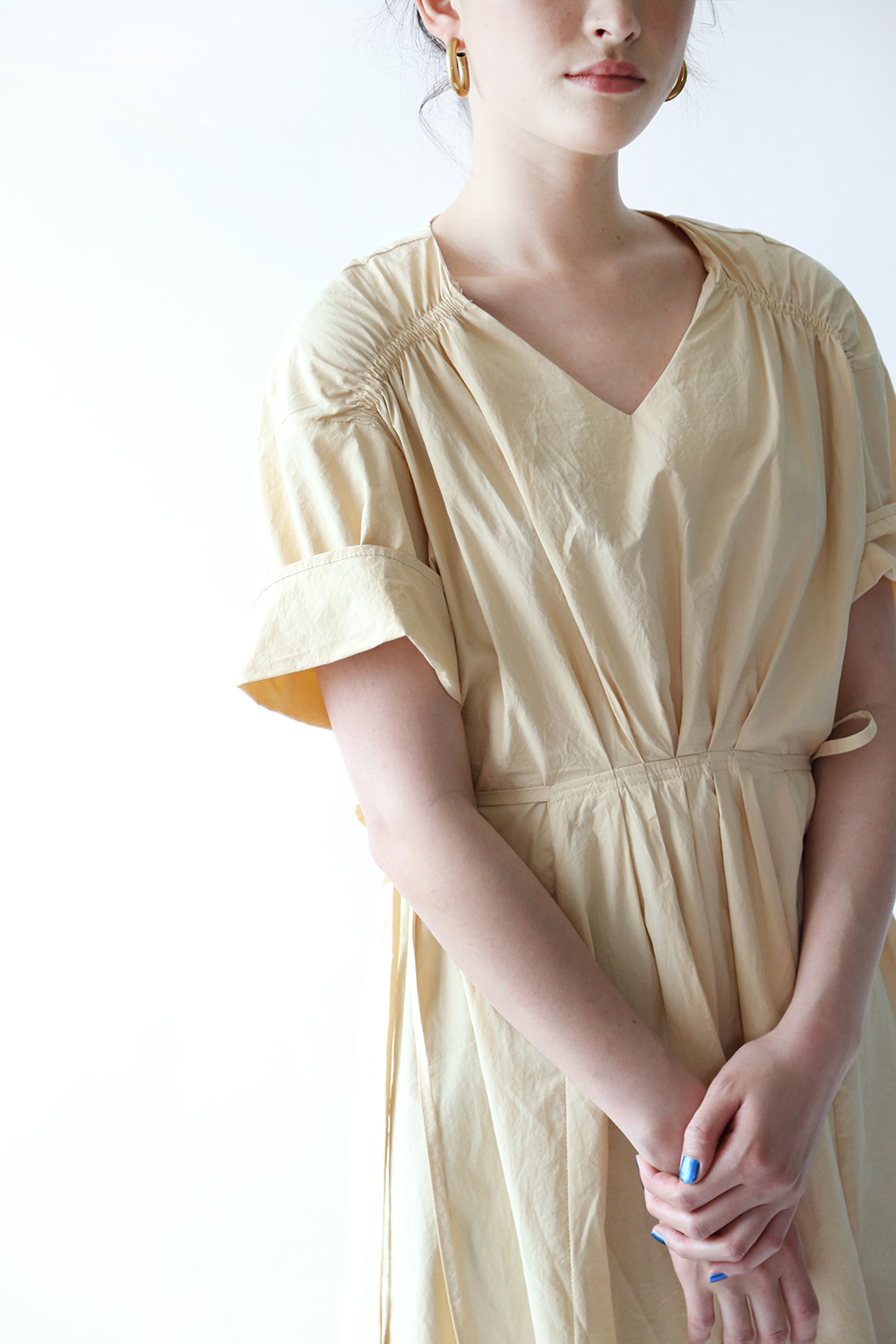 SUMMER COTTON SHIRRING DRESS