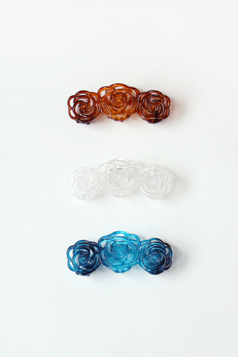 ROSE HAIR CLIP PIN (brown, clear, blue)