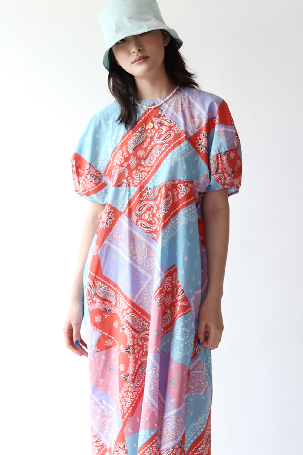 PAISLEY PRINT COTTON DRESS (orange, baby pink)