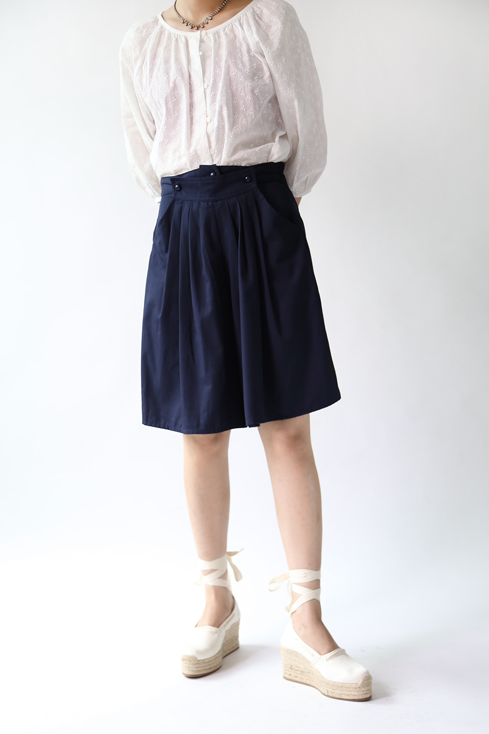 80'S NAVY 3 BUTTONS SHORTS