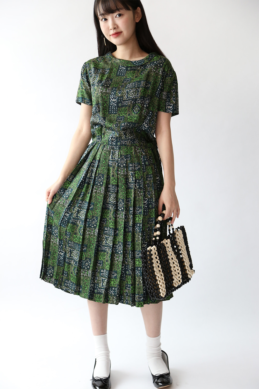50'S PRINTED SATIN DRESS
