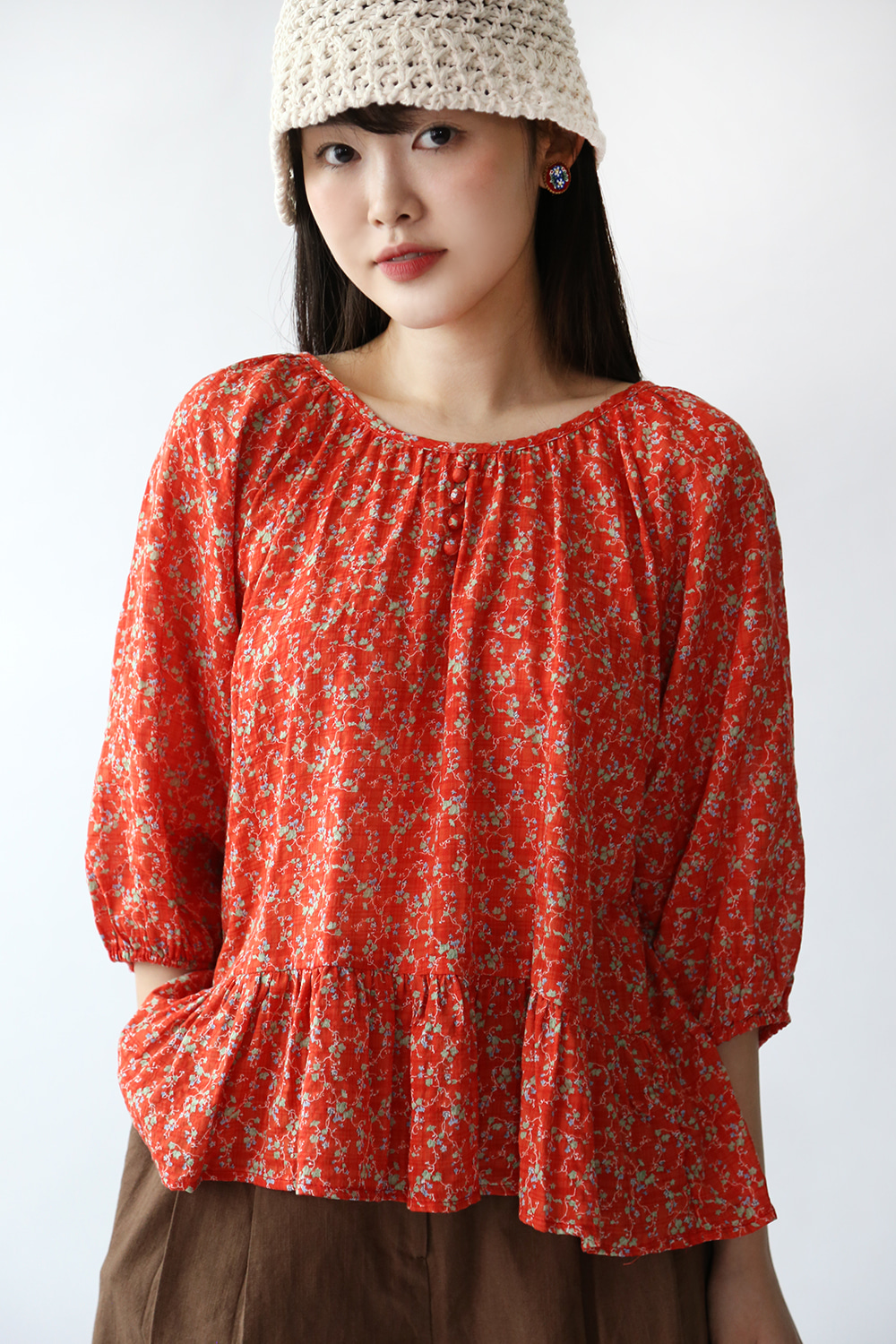 RED FLORAL COTTON BLOUSE
