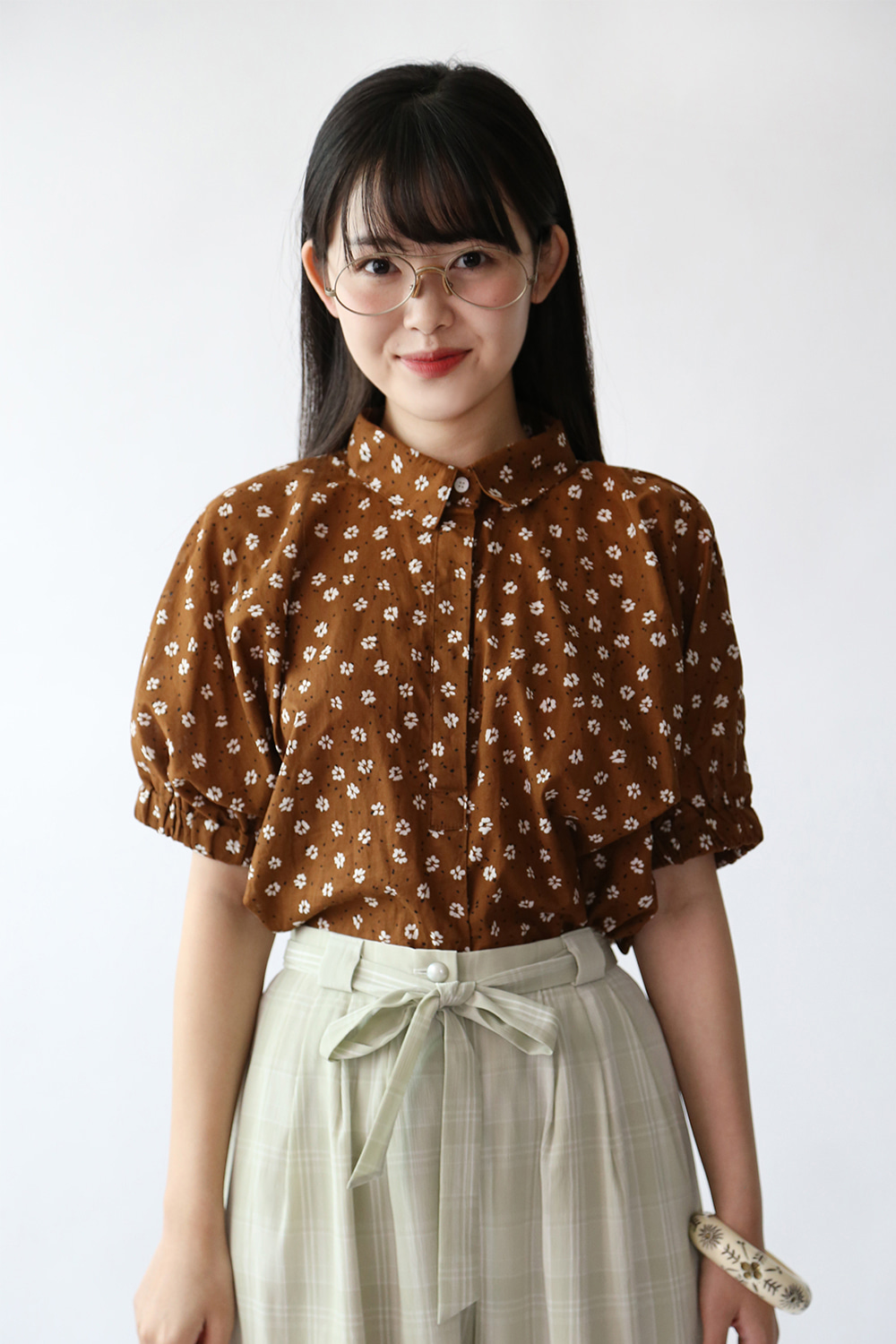 BROWN FLORAL SHIRT BLOUSE