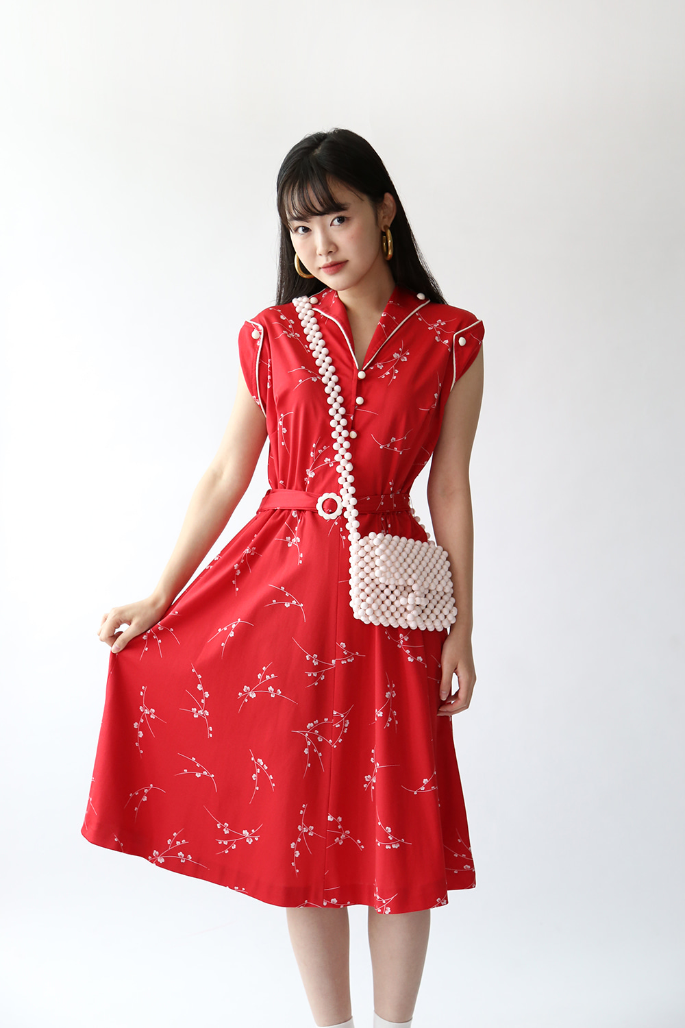 60'S RED DAISY BELTED DRESS