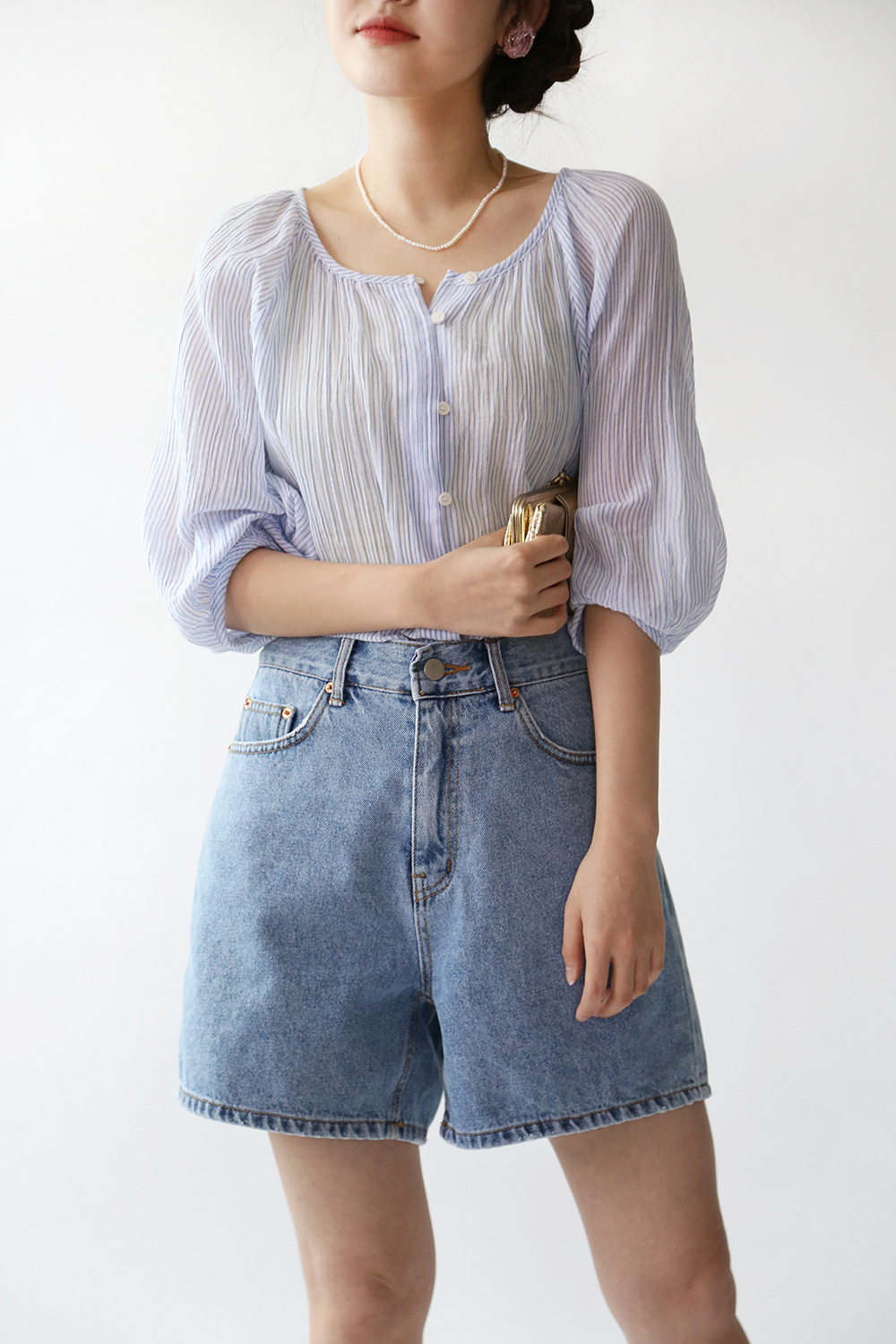BLUE SHEER STRIPED BLOUSE